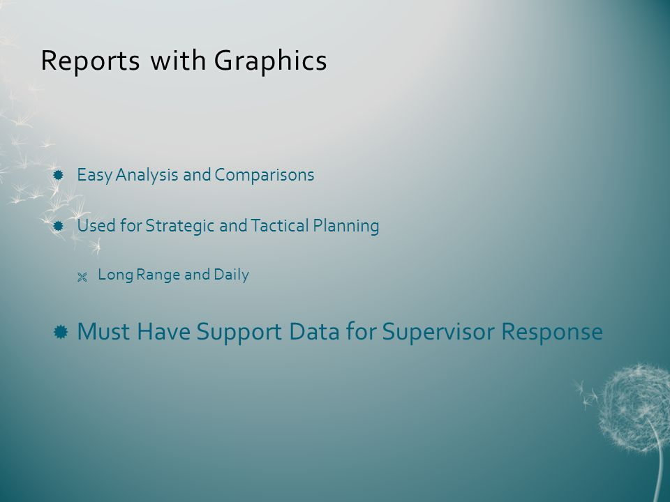 Reports with GraphicsReports with Graphics Easy Analysis and Comparisons Used for Strategic and Tactical Planning Long Range and Daily Must Have Support Data for Supervisor Response