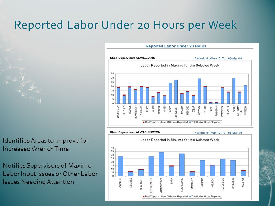 Reported Labor Under 20 Hours per WeekReported Labor Under 20 Hours per Week Identifies Areas to Improve for Increased Wrench Time.