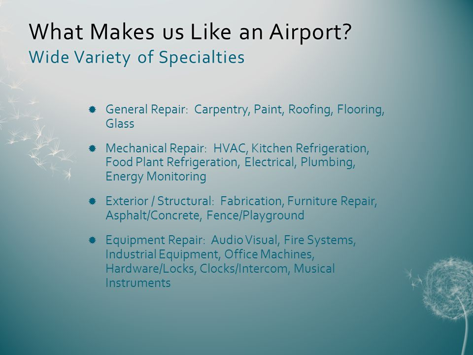 What Makes us Like an Airport.