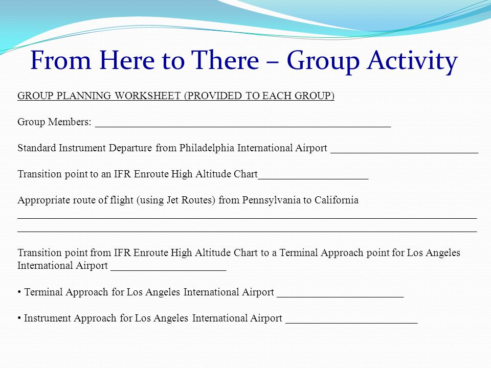 GROUP PLANNING WORKSHEET (PROVIDED TO EACH GROUP) Group Members: ______________________________________________________ Standard Instrument Departure from Philadelphia International Airport ___________________________ Transition point to an IFR Enroute High Altitude Chart____________________ Appropriate route of flight (using Jet Routes) from Pennsylvania to California____________________________________________________________________________________ Transition point from IFR Enroute High Altitude Chart to a Terminal Approach point for Los Angeles International Airport _____________________ Terminal Approach for Los Angeles International Airport _______________________ Instrument Approach for Los Angeles International Airport ________________________
