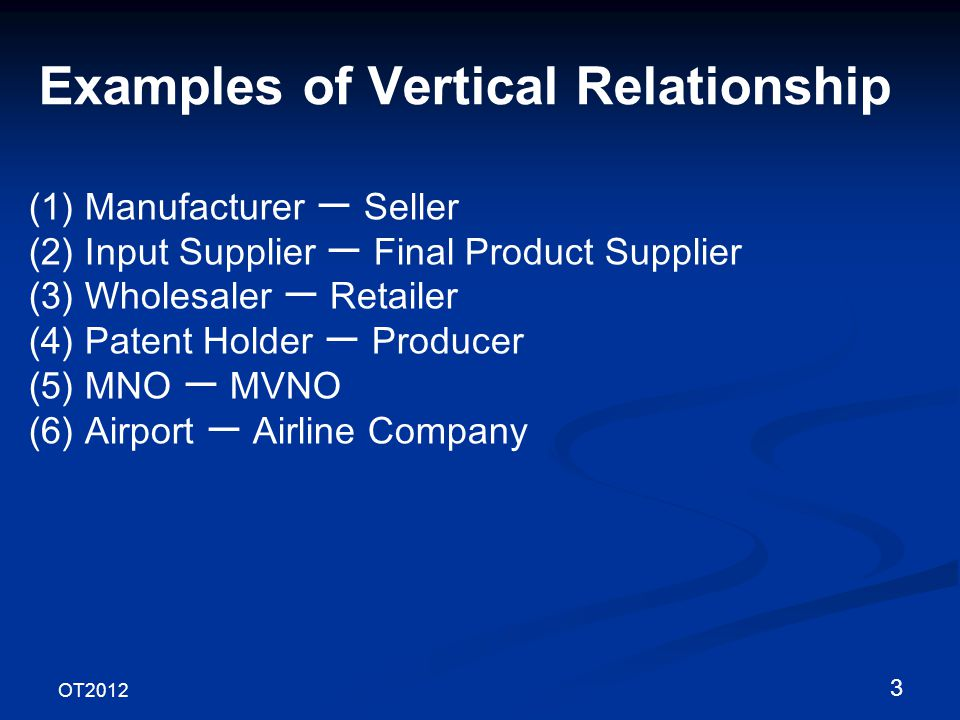 OT2012 3 Examples of Vertical Relationship (1) Manufacturer Seller (2) Input Supplier Final Product Supplier (3) Wholesaler Retailer (4) Patent Holder Producer (5) MNO MVNO (6) Airport Airline Company