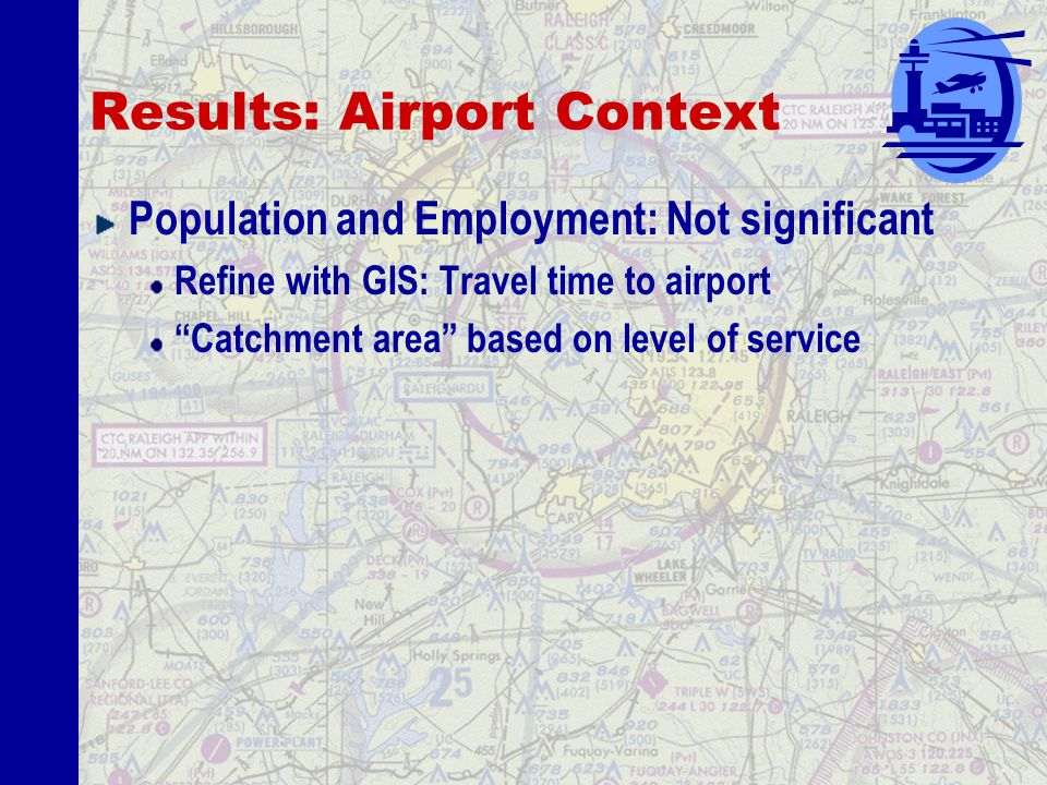 Results: Airport Context Ground access: 7,900 more operations Air trips expected to be multimodal Operations per runway at primary airport: 1% increase = 3,600 more operations Captures regional demand Improvement: Delay at Primary Airport