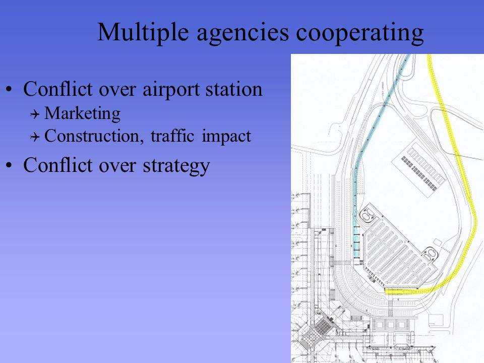 Multiple agencies cooperating Conflict over airport station Marketing Construction, traffic impact Conflict over strategy