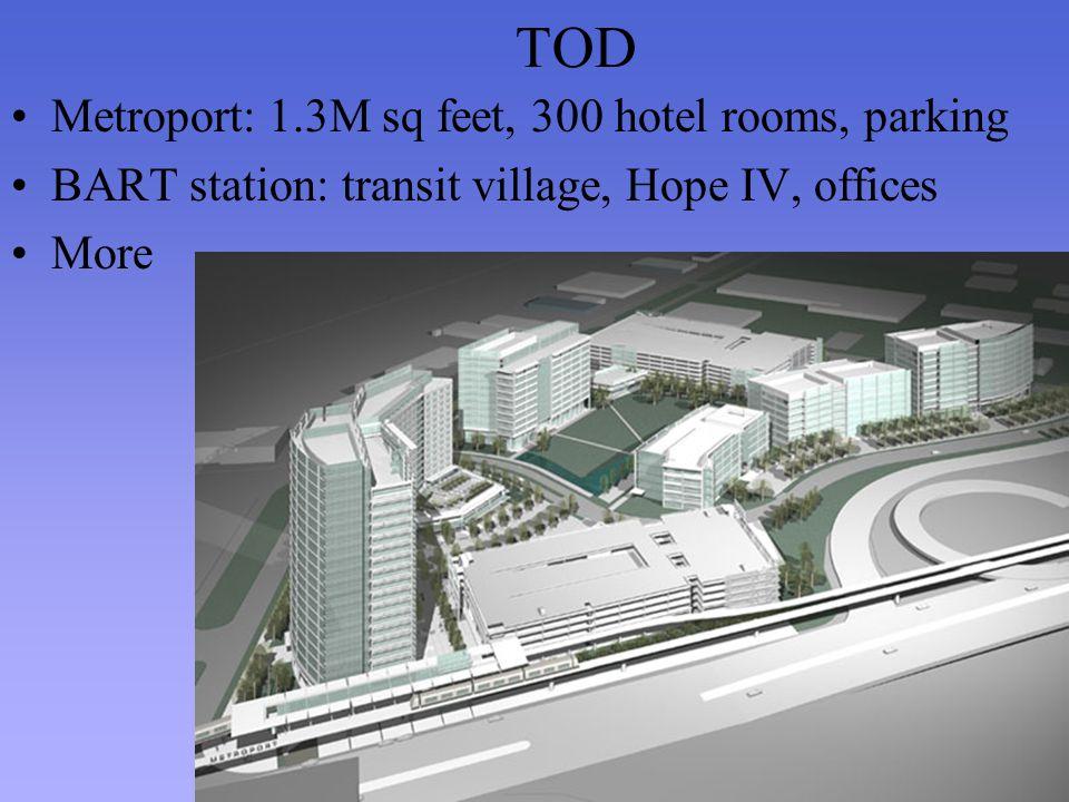 TOD Metroport: 1.3M sq feet, 300 hotel rooms, parking BART station: transit village, Hope IV, offices More