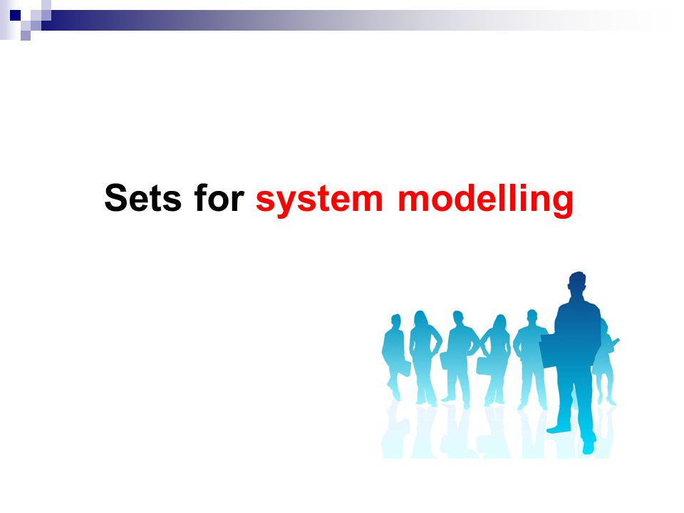 At the end of this lecture you should be able to: Identify when it is appropriate to use a set for system modelling Define a set using enumeration, number ranges and comprehension Use the set operators (union, intersection, difference, subset and cardinality) Apply the set type to model systems in VDM-SL