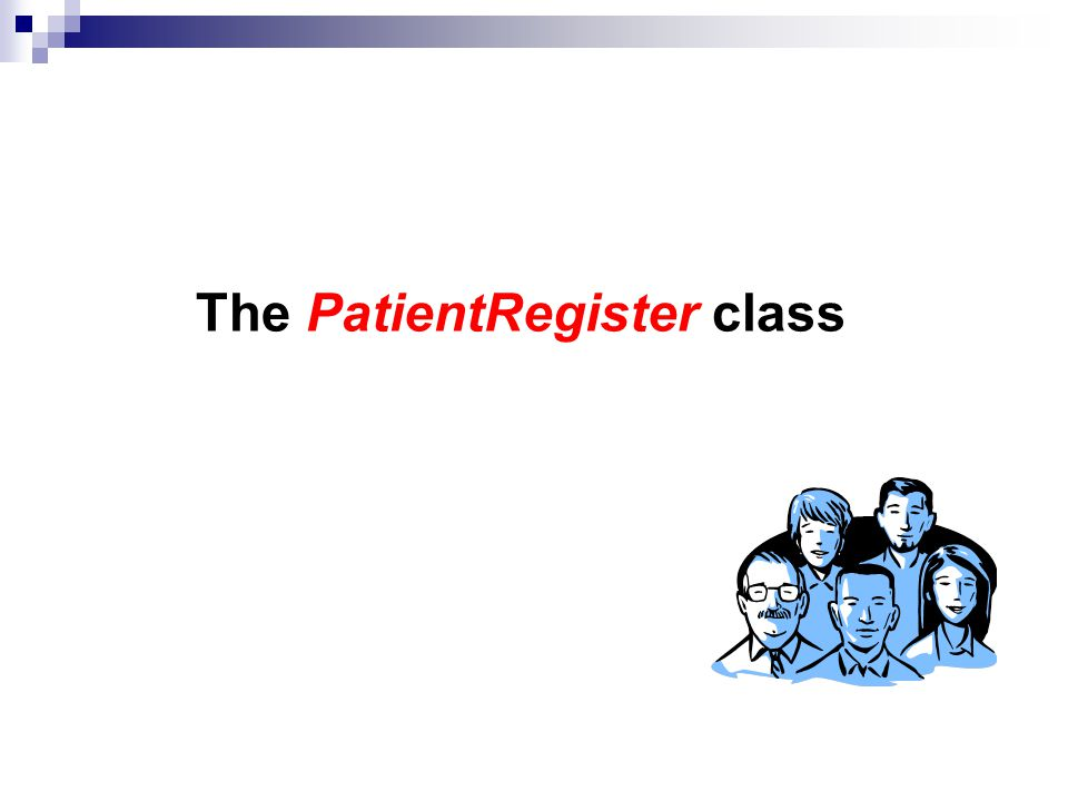 The PatientRegister class