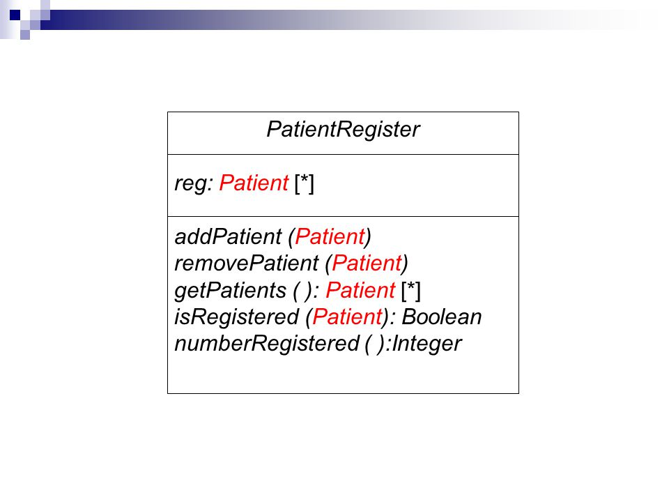 PatientRegister reg: Patient [*] addPatient (Patient) removePatient (Patient) getPatients ( ): Patient [*] isRegistered (Patient): Boolean numberRegis