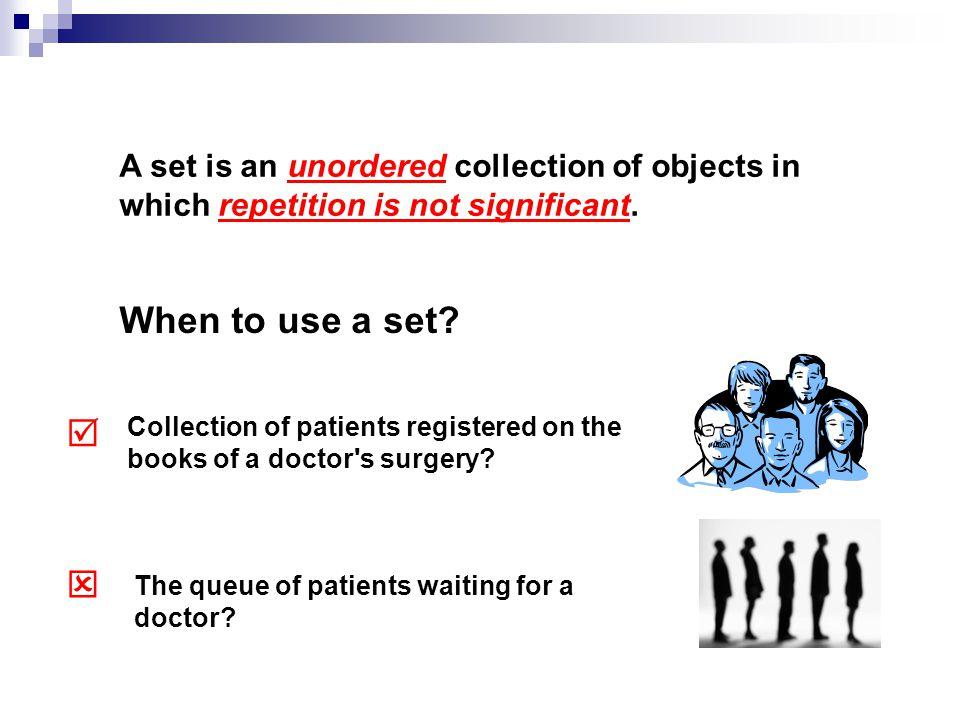 PatientRegister reg: Patient [*] addPatient (Patient) removePatient (Patient) getPatients ( ): Patient [*] isRegistered (Patient): Boolean numberRegistered ( ):Integer