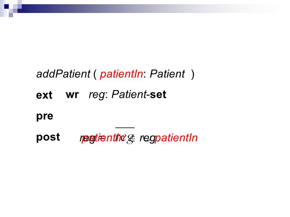 addPatient ( ) ext pre post reg = patientIn patientIn: Patient reg: Patient-setwr patientIn reg