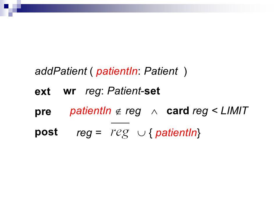 addPatient ( ) ext pre post reg = { patientIn} patientIn regcard reg < LIMIT patientIn: Patient reg: Patient-setwr