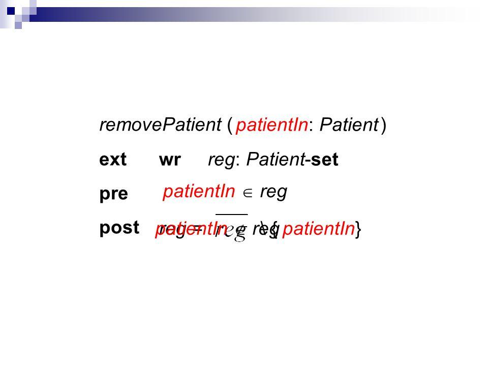 removePatient ( ) ext pre post patientIn: Patient wrreg: Patient-set reg = \ { patientIn}patientIn reg patientIn reg