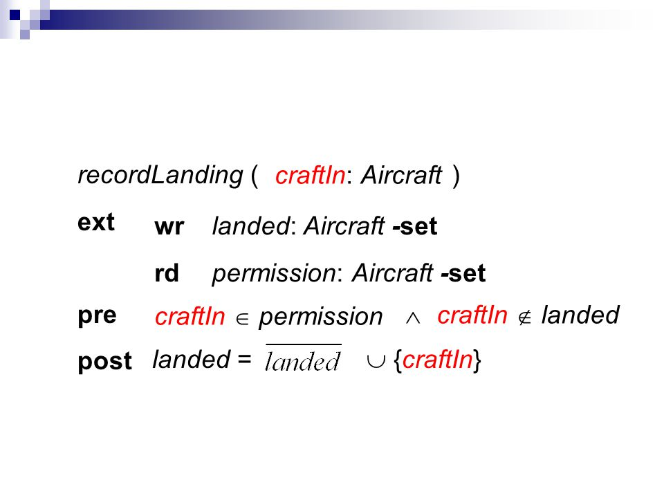 recordLanding ( ) ext pre post craftIn: Aircraft permission: Aircraft -set landed: Aircraft -set rd wr landed = {craftIn} craftIn permission craftIn l