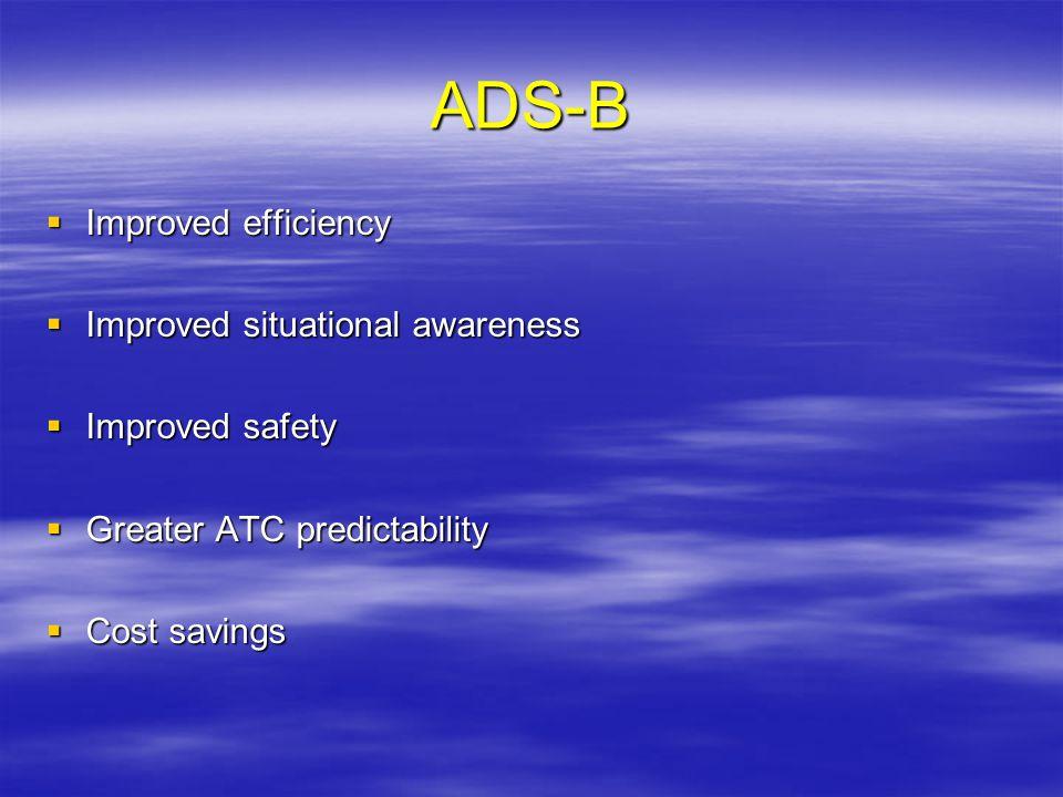 ADS-B Improved efficiency Improved efficiency Improved situational awareness Improved situational awareness Improved safety Improved safety Greater AT