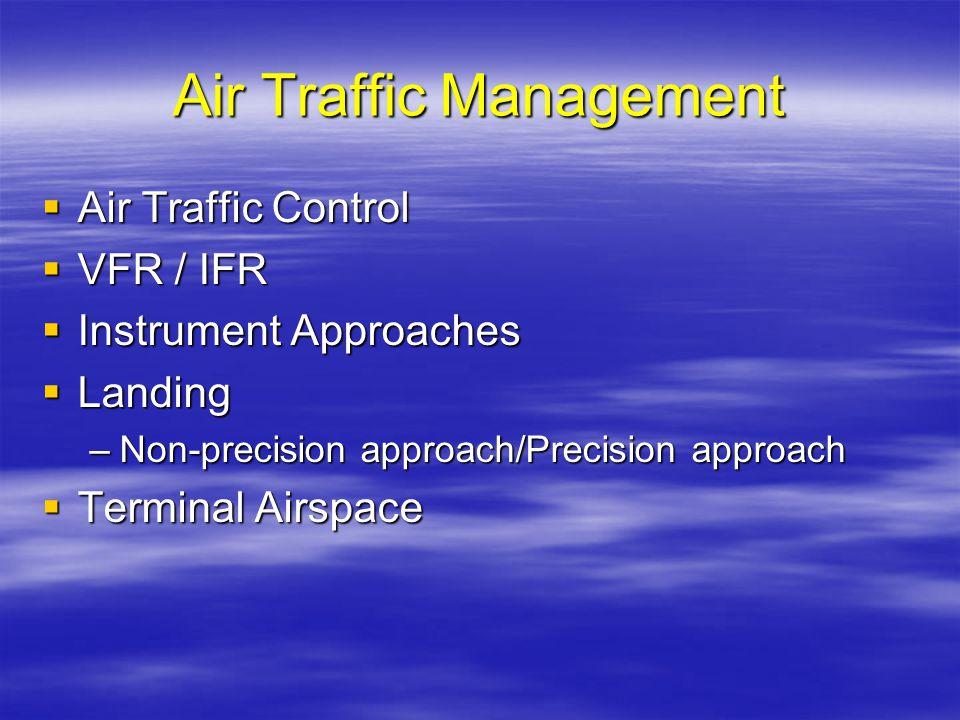 Air Traffic Management Air Traffic Control Air Traffic Control VFR / IFR VFR / IFR Instrument Approaches Instrument Approaches Landing Landing –Non-pr