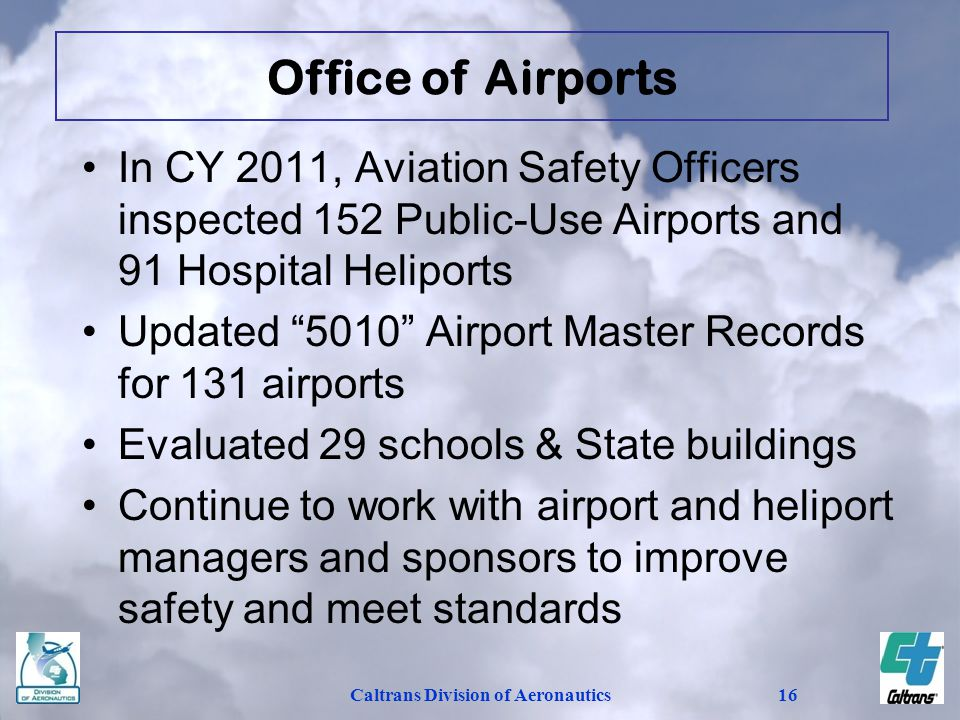 Caltrans Division of Aeronautics16 In CY 2011, Aviation Safety Officers inspected 152 Public-Use Airports and 91 Hospital Heliports Updated 5010 Airpo