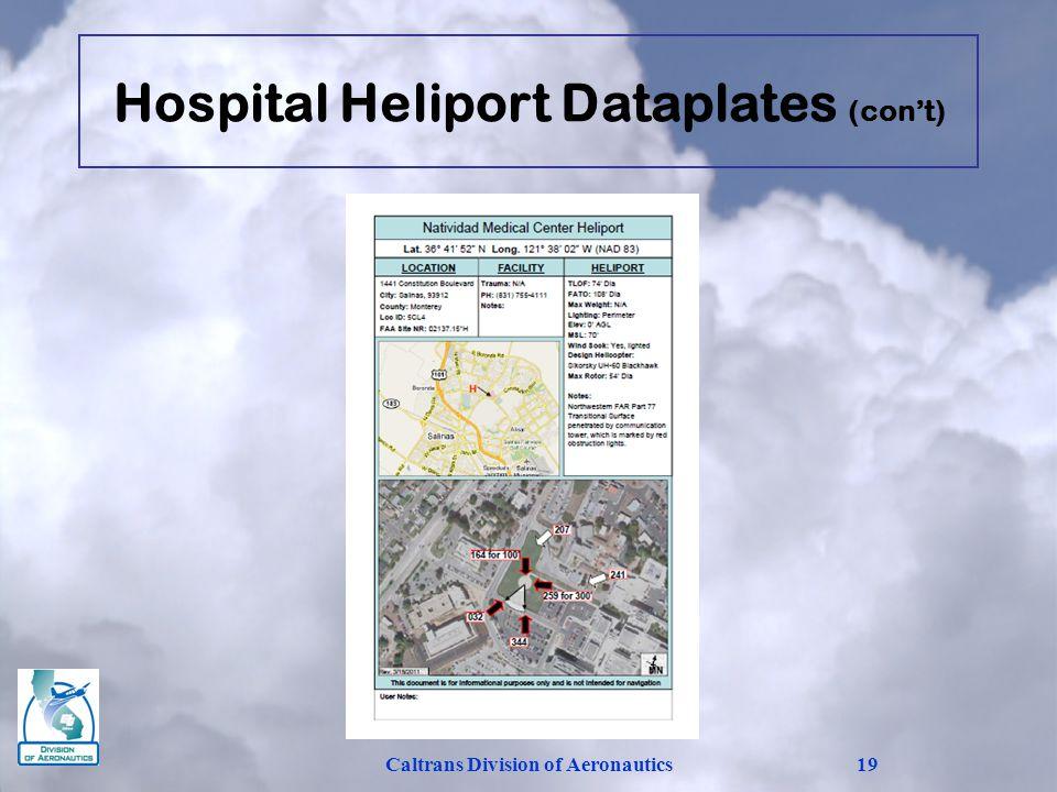 Hospital Heliport Dataplates (cont) Caltrans Division of Aeronautics19