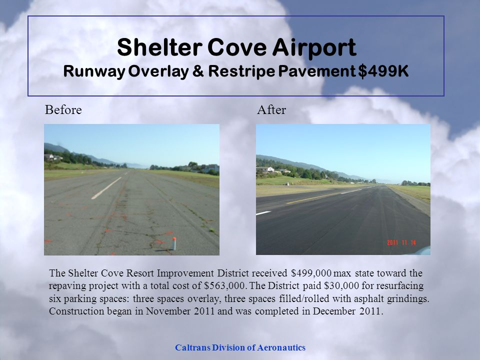 Caltrans Division of Aeronautics Before After The Shelter Cove Resort Improvement District received $499,000 max state toward the repaving project wit