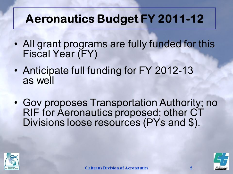 Caltrans Division of Aeronautics5 Aeronautics Budget FY 2011-12 All grant programs are fully funded for this Fiscal Year (FY) Anticipate full funding for FY 2012-13 as well Gov proposes Transportation Authority; no RIF for Aeronautics proposed; other CT Divisions loose resources (PYs and $).