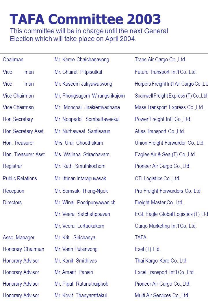 ChairmanMr. Keree ChaichanavongTrans Air Cargo Co.,Ltd.