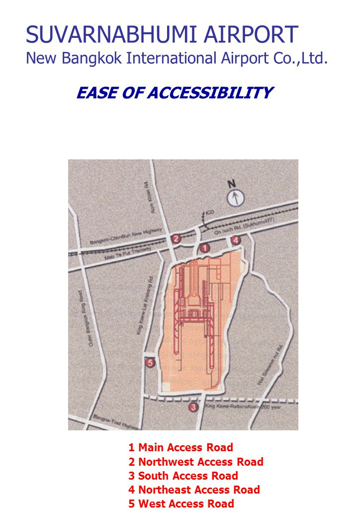 EASE OF ACCESSIBILITY 1 Main Access Road 2 Northwest Access Road 3 South Access Road 4 Northeast Access Road 5 West Access Road SUVARNABHUMI AIRPORT New Bangkok International Airport Co.,Ltd.