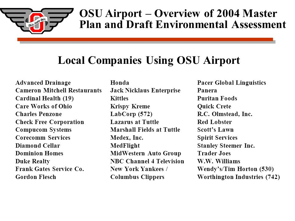 OSU Airport – Overview of 2004 Master Plan and Draft Environmental Assessment Airport Economic Impact on Community 2002 Economic Impact study based on FAA guidelines indicated $4.3M in direct impacts, $37.5M in indirect impacts, and $31.1M in induced economic impacts