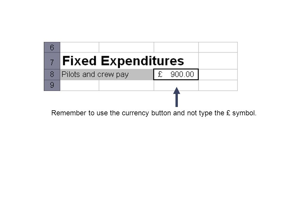Remember to use the currency button and not type the £ symbol.