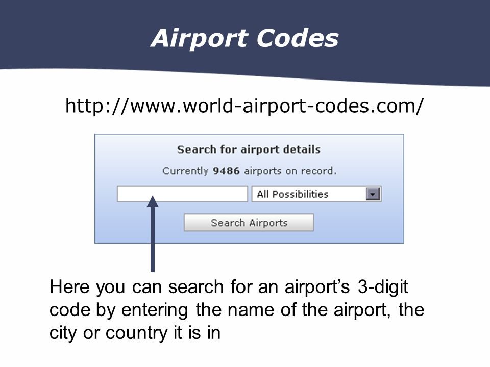 Airport Codes http://www.world-airport-codes.com/ Here you can search for an airports 3-digit code by entering the name of the airport, the city or country it is in