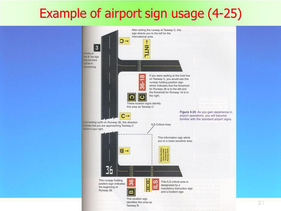 21 Example of airport sign usage (4-25)
