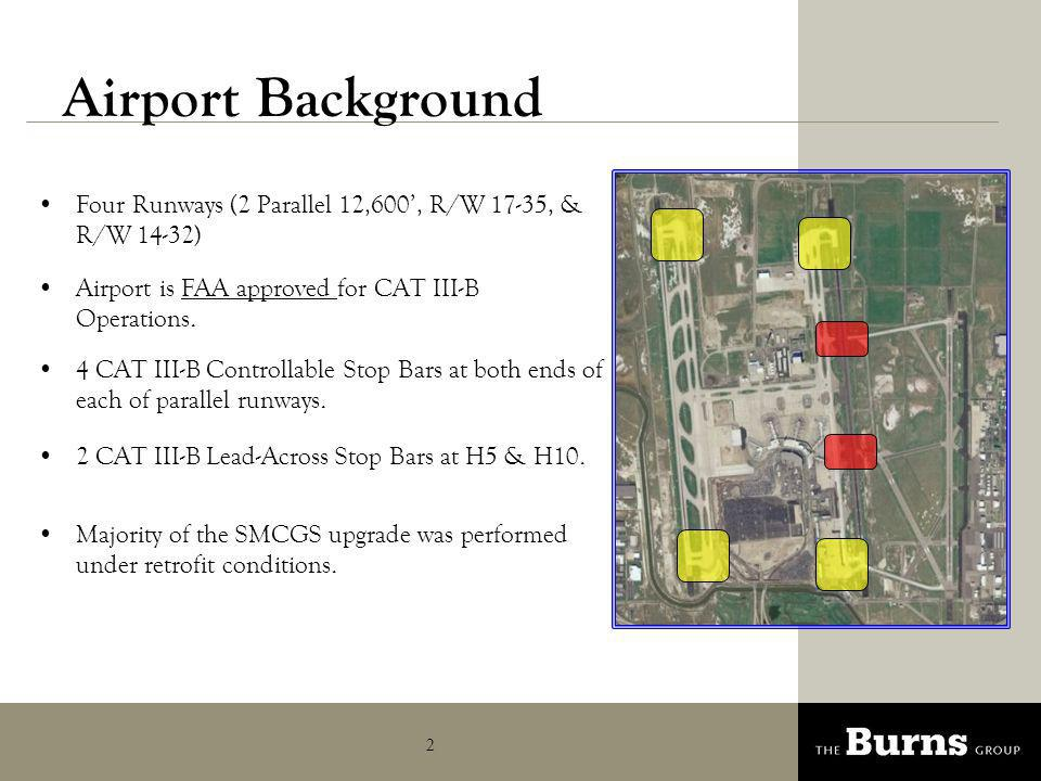 3 Presentation Overview Due to complexity of SMCGS system and overall airport operations airfield lighting design is incorporated & coordinated early into the planning and conceptual design.