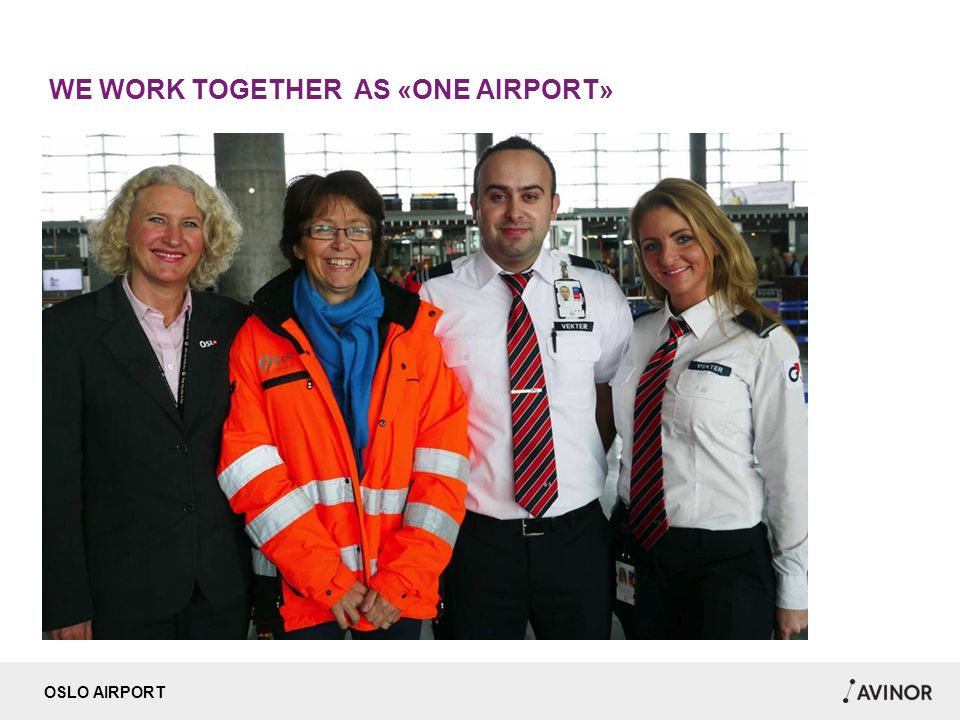 OSLO AIRPORT WE WORK TOGETHER AS «ONE AIRPORT»