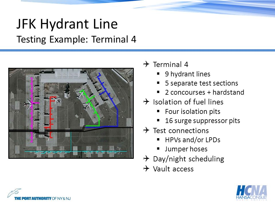 JFK Hydrant Line Testing Example: Terminal 4 Terminal 4 9 hydrant lines 5 separate test sections 2 concourses + hardstand Isolation of fuel lines Four