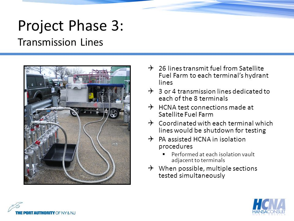 JFK Transmission Lines Example: Terminal 1 3 Transmission Lines At least one line allocated for fueling operations during testing Isolation vault accessed in busy fueling apron PA assistance No contractor needed for isolation requirements