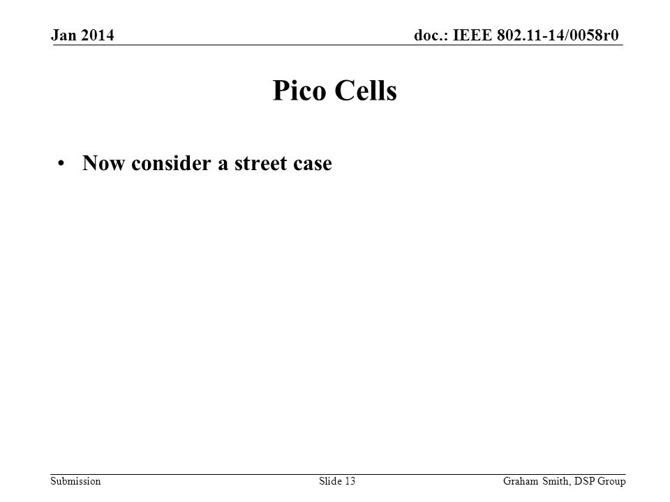 doc.: IEEE 802.11-14/0058r0 Submission Now consider a street case Pico Cells Jan 2014 Graham Smith, DSP GroupSlide 13