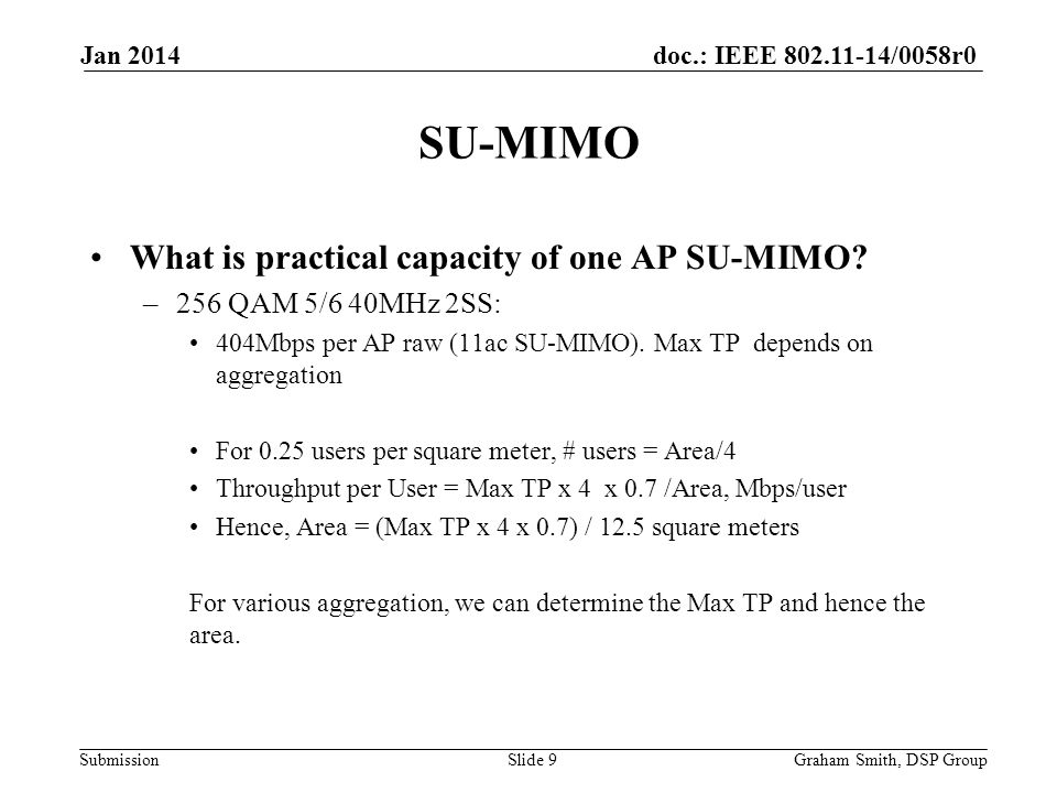 doc.: IEEE 802.11-14/0058r0 Submission What is practical capacity of one AP SU-MIMO.