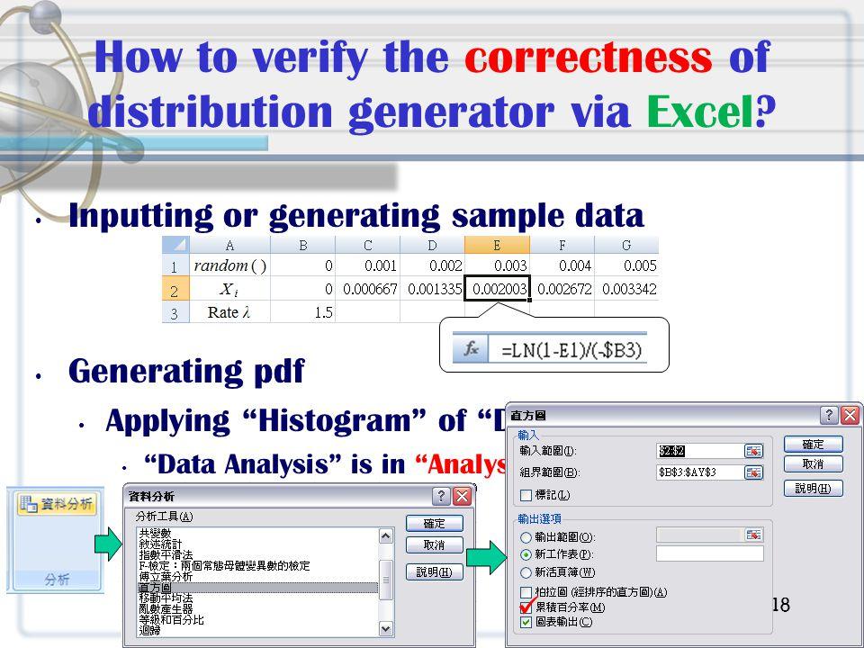 How to verify the correctness of distribution generator via Excel.