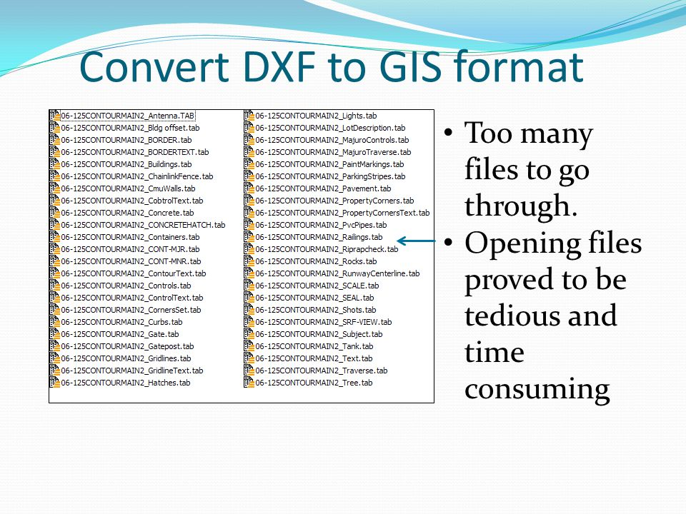 Convert DXF to GIS format Too many files to go through. Opening files proved to be tedious and time consuming