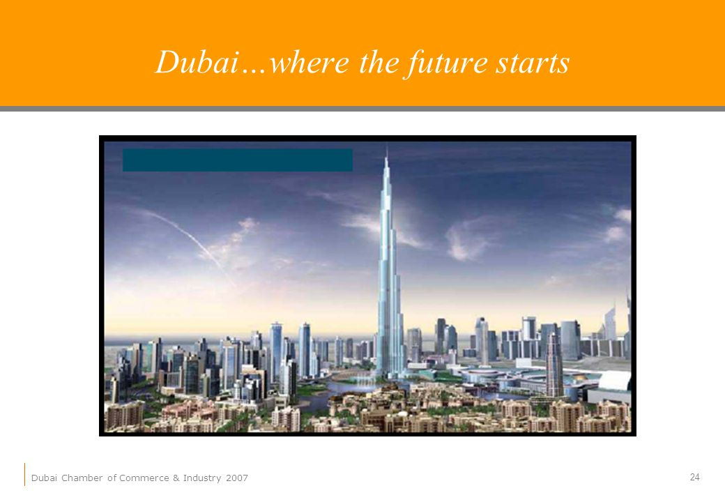 Dubai Chamber of Commerce & Industry 2007 24 Dubai…where the future starts