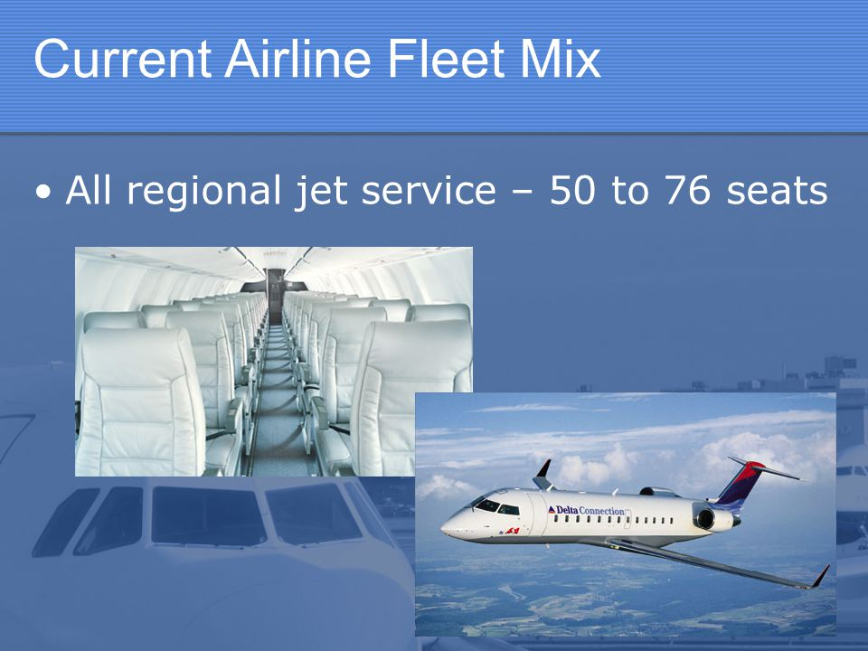 Current Airline Fleet Mix All regional jet service – 50 to 76 seats