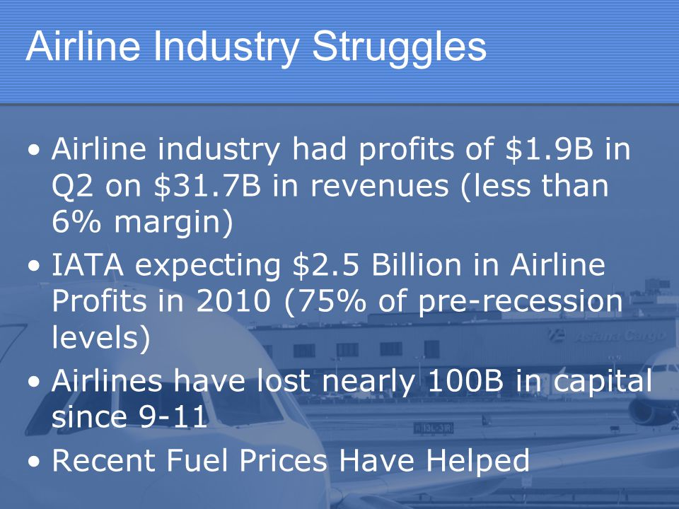 Industry Reactions Domestic flight reductions Fare increases Ala-carte pricing Reduced customer service Overall attempt to reduce competition, increase costs efficiencies, and increase fares industry wide