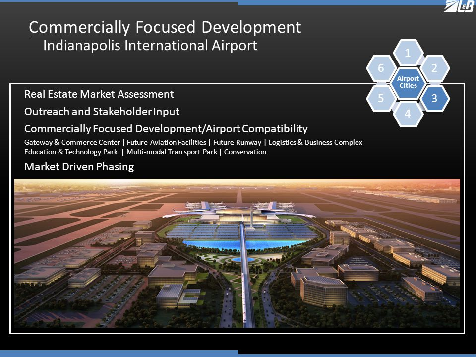 Commercially Focused Development Indianapolis International Airport Real Estate Market Assessment Outreach and Stakeholder Input Commercially Focused Development/Airport Compatibility Gateway & Commerce Center | Future Aviation Facilities | Future Runway | Logistics & Business Complex Education & Technology Park | Multi-modal Tran sport Park | Conservation Market Driven Phasing Airport Cities 123456