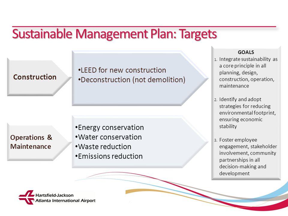 Hartsfield-Jackson Atlanta International Airport City of Atlanta Department of Aviation Sustainable Management Plan: Targets GOALS 1. Integrate sustai