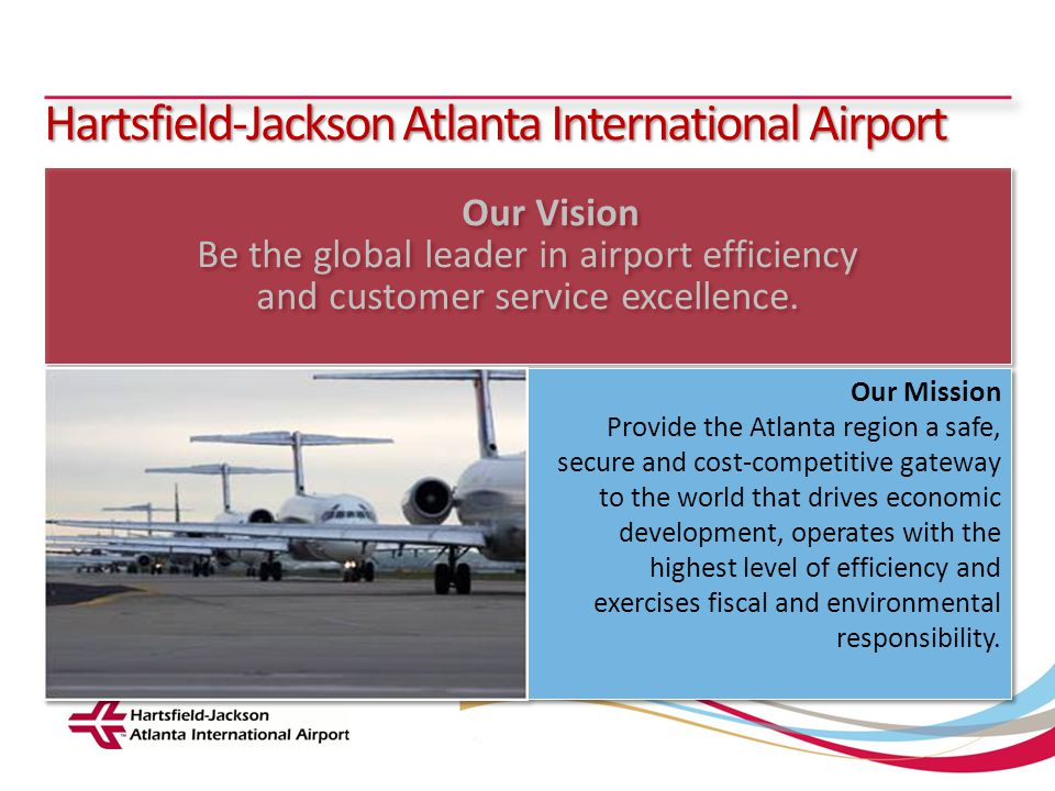 Hartsfield-Jackson Atlanta International Airport City of Atlanta Department of Aviation Sustainable Management Plan: Project Scope 1.Define sustainability categories 2.Include baseline inventory of natural resource usage 3.Establish measurable goals and identify initiatives to minimize impact or consumption