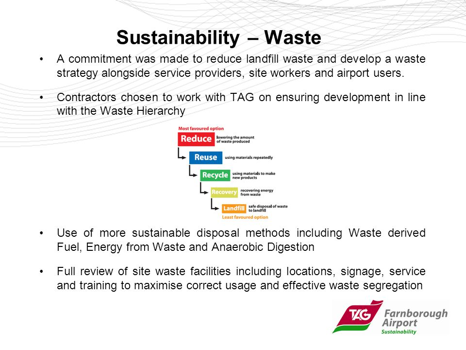 Sustainability – Waste A commitment was made to reduce landfill waste and develop a waste strategy alongside service providers, site workers and airport users.
