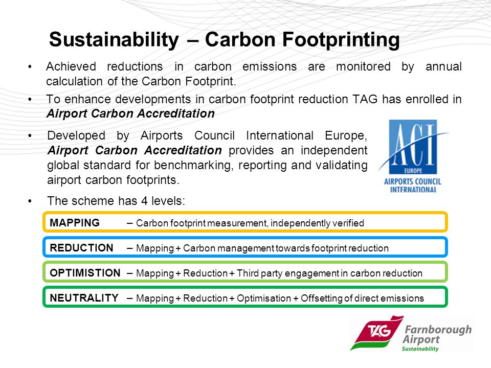 Sustainability – Carbon Footprinting Achieved reductions in carbon emissions are monitored by annual calculation of the Carbon Footprint.