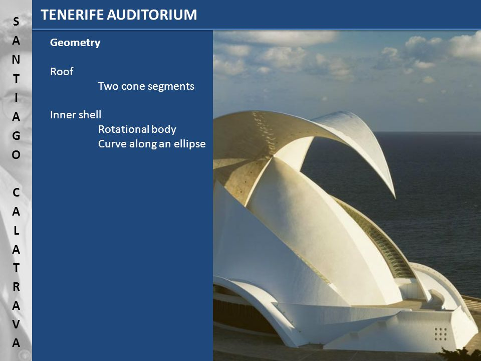 TENERIFE AUDITORIUM Geometry Roof Two cone segments Inner shell Rotational body Curve along an ellipse