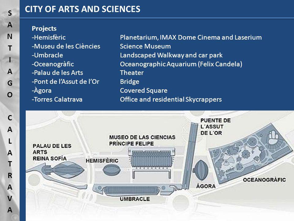 Projects -HemisfèricPlanetarium, IMAX Dome Cinema and Laserium -Museu de les CiènciesScience Museum -UmbracleLandscaped Walkway and car park -Oceanogr