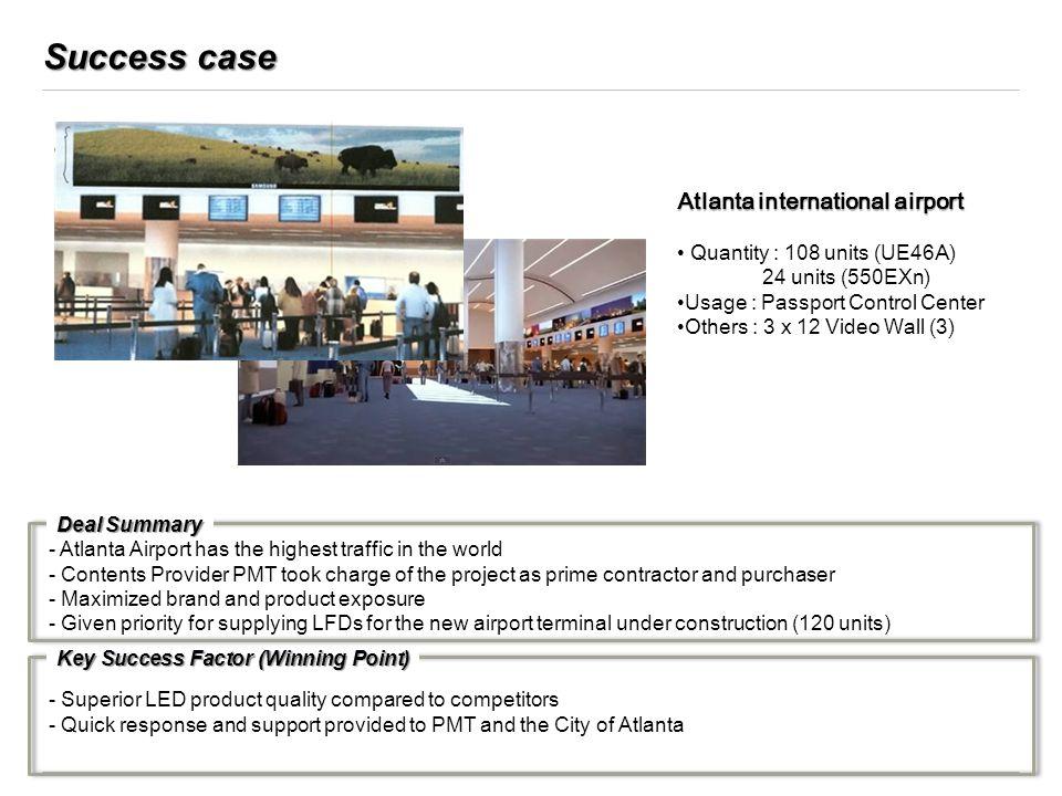 Success case Atlanta international airport Quantity : 108 units (UE46A) 24 units (550EXn) Usage : Passport Control Center Others : 3 x 12 Video Wall (