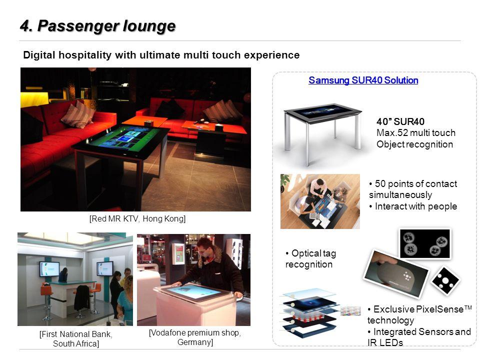 4. Passenger lounge [Red MR KTV, Hong Kong] [First National Bank, South Africa] [Vodafone premium shop, Germany] Samsung SUR40 Solution Digital hospit