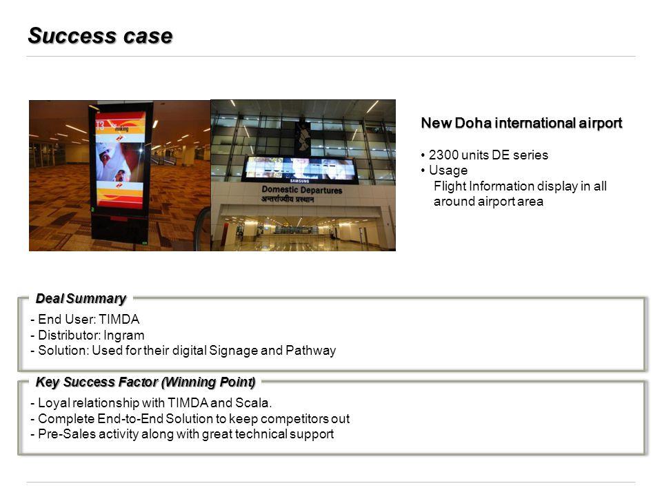 Success case New Doha international airport 2300 units DE series Usage Flight Information display in all around airport area Key Success Factor (Winni