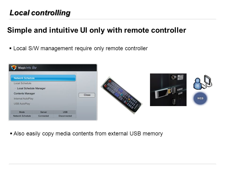 Local controlling Simple and intuitive UI only with remote controller Local S/W management require only remote controller Also easily copy media conte